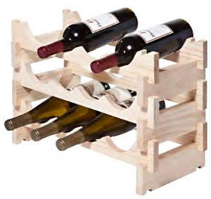 Wood Wine Rack, Natural Finish –  12 bottle (3 layers of 4 bottles)