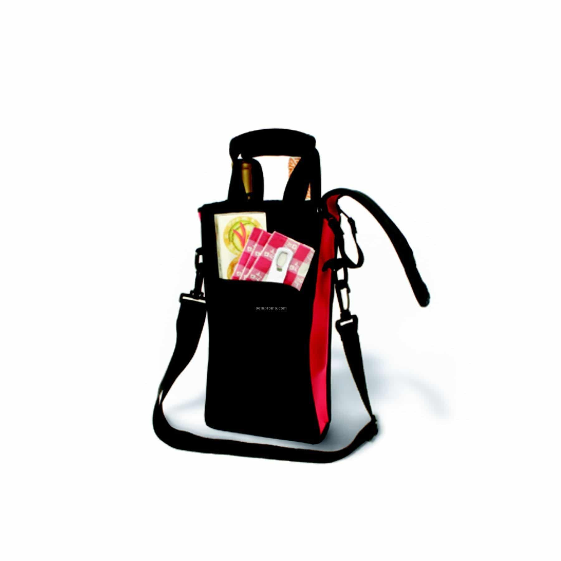 Picnic Neoprene Two-Bottle Tote Bag with Gel Packs, black and red