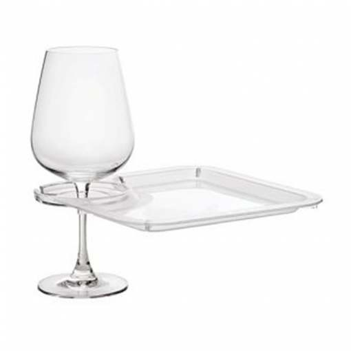 Wine Party Plates with Wine Glass Holder – Round or Square- Imprint