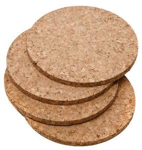 Cork Coasters, Round Set of 4