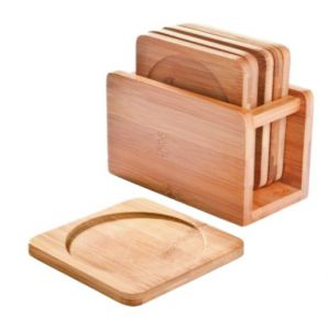 Bamboo Coaster Set with holder – set of 6, Engrave