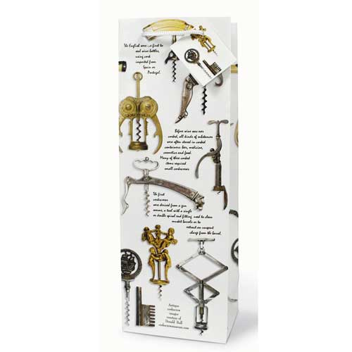 Antique Corkscrews – Paper Wine Bottle Gift Bag