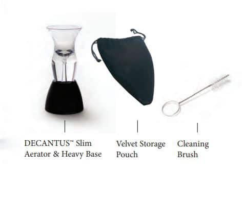 Decantus™ Slim Wine Aerator Set, 4-Piece Set Decantus Slim, Decantus Slim Aerator, Base, Velvet Storage Pouch and Cleaning Brush