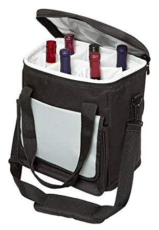 Six-Bottle Shoulder-Strap Wine Tote