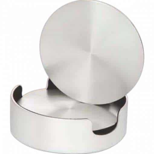 Aluminum Coasters & Cushioned Base holder – set of 4