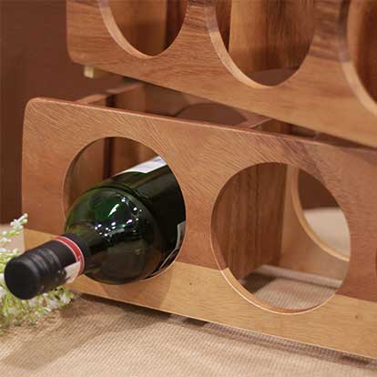 Wood Three Bottle Stackable Wine rack