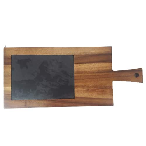 Cutting and serving board with black slate, Engrave